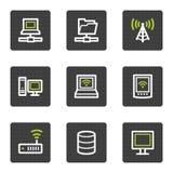 Le icone di Web della rete, quadrato grigio abbottona la serie Fotografie Stock Libere da Diritti