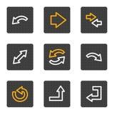 Le icone di Web delle frecce, grey abbottona la serie Fotografia Stock