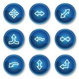 Le icone di Web delle frecce hanno impostato 2, tasti blu del cerchio Fotografia Stock Libera da Diritti