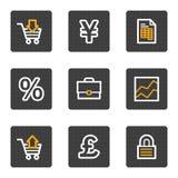 Le icone di Web di affari, grey abbottona la serie Fotografia Stock