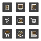 Le icone di Web di elettronica, grey abbottona la serie Immagine Stock