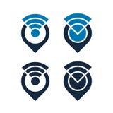 Le icone di Wifi progettano con i puntatori della mappa, vettore isolato Immagini Stock Libere da Diritti