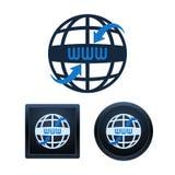 Le icone di WWW a forma di globo progettano, illustrazioni isolate Fotografia Stock Libera da Diritti
