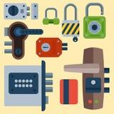 Le icone differenti della serratura di porta della casa messe vector l'elemento della segretezza di parola d'ordine della sicurez illustrazione vettoriale