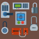 Le icone differenti della serratura di porta della casa messe vector l'elemento della segretezza di parola d'ordine della sicurez royalty illustrazione gratis