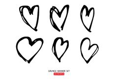 le icone disegnate a mano del cuore delle illustrazioni hanno messo per i biglietti di S. Valentino e le nozze illustrazione di stock