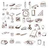 Le icone disegnate a mano hanno fissato il vettore della scuola Fotografia Stock