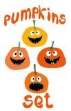 Le icone divertenti di vettore della zucca di Halloween hanno fissato la progettazione piana semplice di stile Immagine Stock