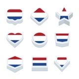 Le icone ed il bottone delle bandiere dei Paesi Bassi hanno fissato nove stili Fotografie Stock