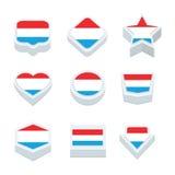 Le icone ed il bottone delle bandiere del Lussemburgo hanno fissato nove stili Fotografia Stock Libera da Diritti