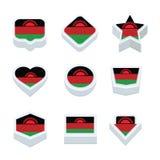 Le icone ed il bottone delle bandiere del Malawi hanno fissato nove stili Immagine Stock