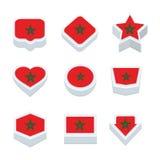 Le icone ed il bottone delle bandiere del Marocco hanno fissato nove stili Fotografia Stock