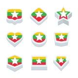 Le icone ed il bottone delle bandiere del Myanmar hanno fissato nove stili Fotografie Stock Libere da Diritti