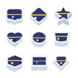 Le icone ed il bottone delle bandiere del Nauru hanno fissato nove stili Immagini Stock Libere da Diritti