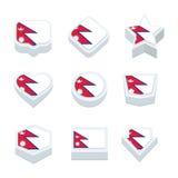 Le icone ed il bottone delle bandiere del Nepal hanno fissato nove stili Fotografia Stock