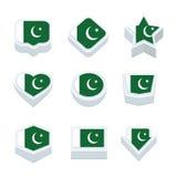 Le icone ed il bottone delle bandiere del Pakistan hanno fissato nove stili Fotografia Stock Libera da Diritti