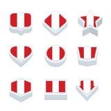 Le icone ed il bottone delle bandiere del Perù hanno fissato nove stili Fotografia Stock Libera da Diritti