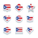Le icone ed il bottone delle bandiere del PORTO RICO hanno fissato nove stili Fotografie Stock