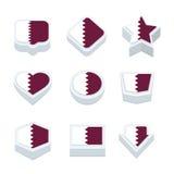 Le icone ed il bottone delle bandiere del Qatar hanno fissato nove stili Fotografia Stock Libera da Diritti