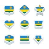 Le icone ed il bottone delle bandiere del Ruanda hanno fissato nove stili Fotografia Stock Libera da Diritti