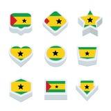 Le icone ed il bottone delle bandiere del Sao Tome and Principe hanno fissato nove stili Fotografia Stock Libera da Diritti