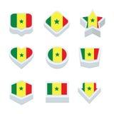 Le icone ed il bottone delle bandiere del Senegal hanno fissato nove stili Fotografie Stock Libere da Diritti