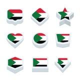 Le icone ed il bottone delle bandiere del Sudan hanno fissato nove stili Fotografia Stock