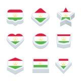 Le icone ed il bottone delle bandiere del Tagikistan hanno fissato nove stili Fotografie Stock Libere da Diritti