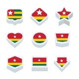 Le icone ed il bottone delle bandiere del Togo hanno fissato nove stili Immagine Stock Libera da Diritti