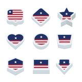 Le icone ed il bottone delle bandiere della Liberia hanno fissato nove stili Fotografie Stock Libere da Diritti
