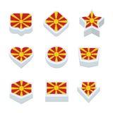 Le icone ed il bottone delle bandiere della Macedonia hanno fissato nove stili Fotografie Stock Libere da Diritti