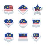 Le icone ed il bottone delle bandiere della Malesia hanno fissato nove stili Fotografia Stock