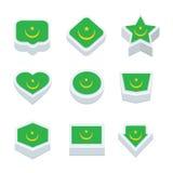 Le icone ed il bottone delle bandiere della Mauritania hanno fissato nove stili Fotografia Stock