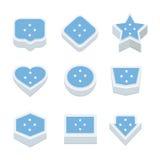 Le icone ed il bottone delle bandiere della Micronesia hanno fissato nove stili Fotografia Stock Libera da Diritti