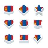 Le icone ed il bottone delle bandiere della Mongolia hanno fissato nove stili Fotografia Stock