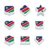 Le icone ed il bottone delle bandiere della Namibia hanno fissato nove stili Fotografie Stock Libere da Diritti