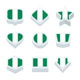 Le icone ed il bottone delle bandiere della Nigeria hanno fissato nove stili Fotografia Stock Libera da Diritti