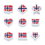 Le icone ed il bottone delle bandiere della Norvegia hanno fissato nove stili Fotografia Stock Libera da Diritti