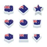Le icone ed il bottone delle bandiere della Nuova Zelanda hanno fissato nove stili Fotografia Stock Libera da Diritti
