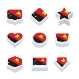 Le icone ed il bottone delle bandiere della Papuasia Nuova Guinea hanno fissato nove stili Immagini Stock