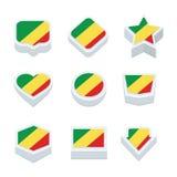 Le icone ed il bottone delle bandiere della Repubblica del Congo hanno fissato nove stili Fotografia Stock Libera da Diritti