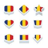 Le icone ed il bottone delle bandiere della Romania hanno fissato nove stili Fotografie Stock