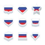 Le icone ed il bottone delle bandiere della Russia hanno fissato nove stili Immagini Stock