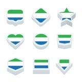 Le icone ed il bottone delle bandiere della Sierra Leone hanno fissato nove stili Immagine Stock