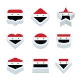 Le icone ed il bottone delle bandiere della Siria hanno fissato nove stili Immagini Stock