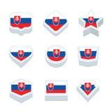 Le icone ed il bottone delle bandiere della Slovacchia hanno fissato nove stili Immagini Stock