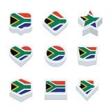 Le icone ed il bottone delle bandiere della Sudafrica hanno fissato nove stili Fotografie Stock Libere da Diritti
