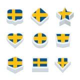 Le icone ed il bottone delle bandiere della Svezia hanno fissato nove stili Fotografie Stock Libere da Diritti