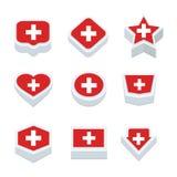 Le icone ed il bottone delle bandiere della Svizzera hanno fissato nove stili Fotografia Stock