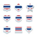 Le icone ed il bottone delle bandiere della Tailandia hanno fissato nove stili Immagini Stock Libere da Diritti